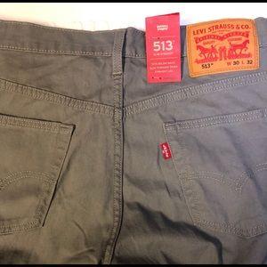 NWT Levi's 513 slim Straight jeans gray  sz 30/32